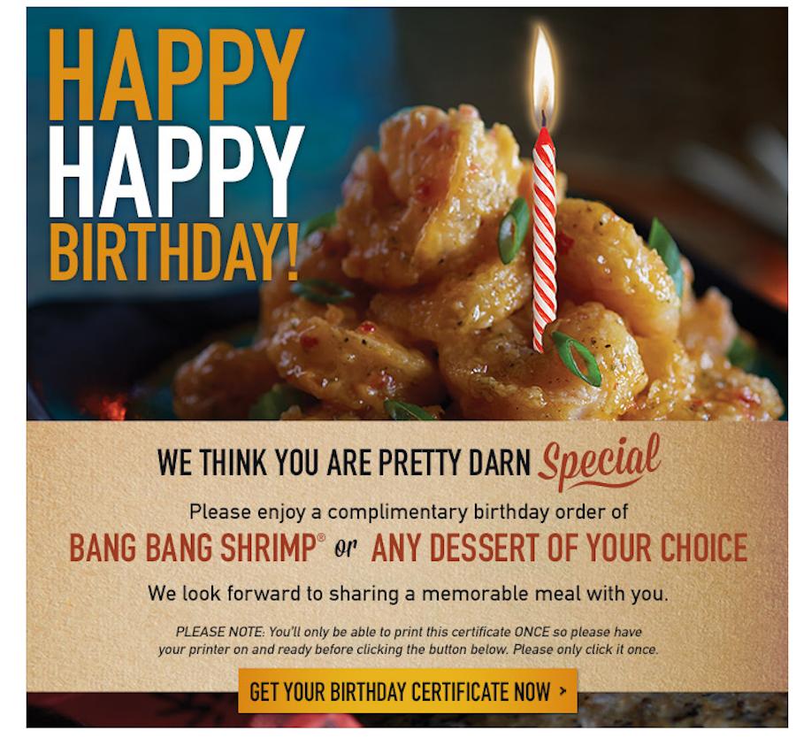 Happy birthday restaurant email