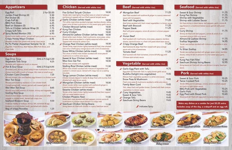 Restaurant menu with many items