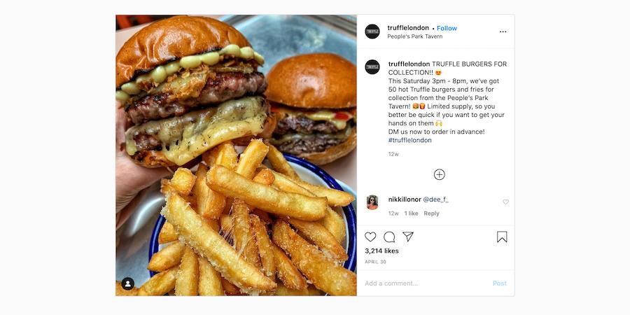 Truffle burger DIY kit marketing