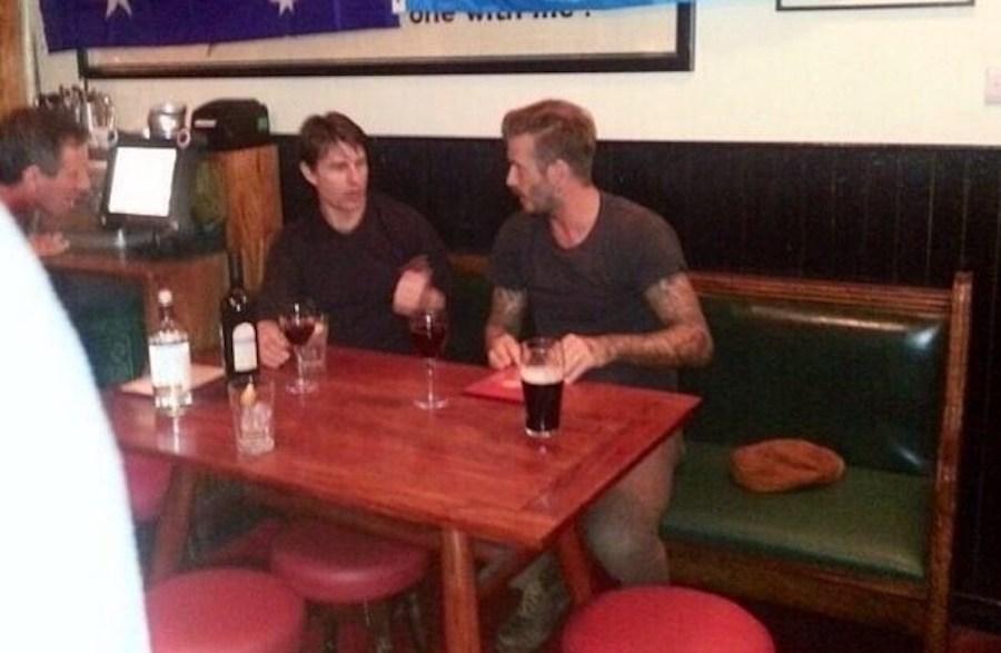 David Beckham and Tom Cruise in Pub