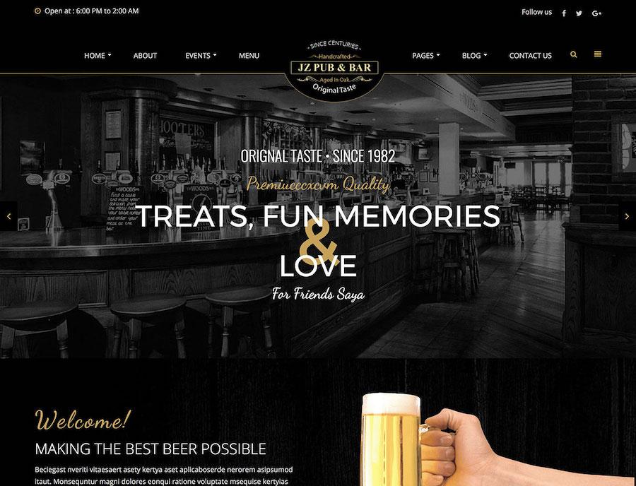 Pub Website Example