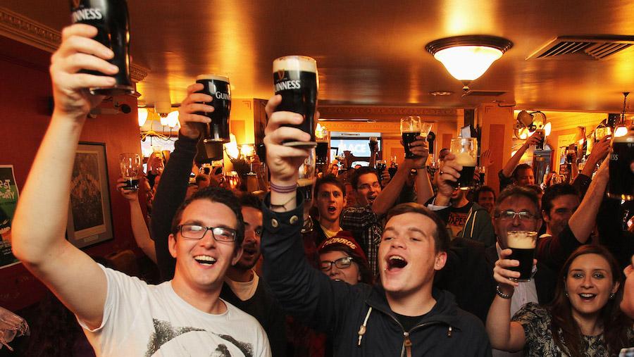 Friends in Pub Celebrating