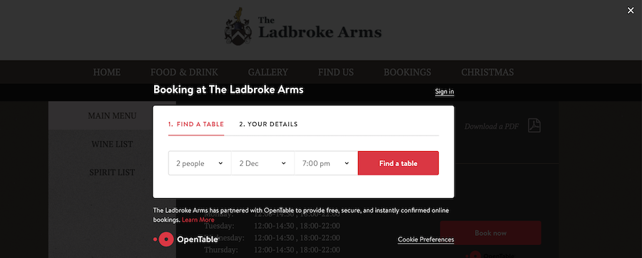 Open Table on Pub Website