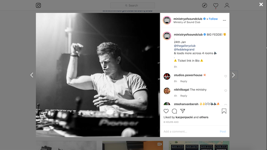 Ministry of Sound Instagram Example