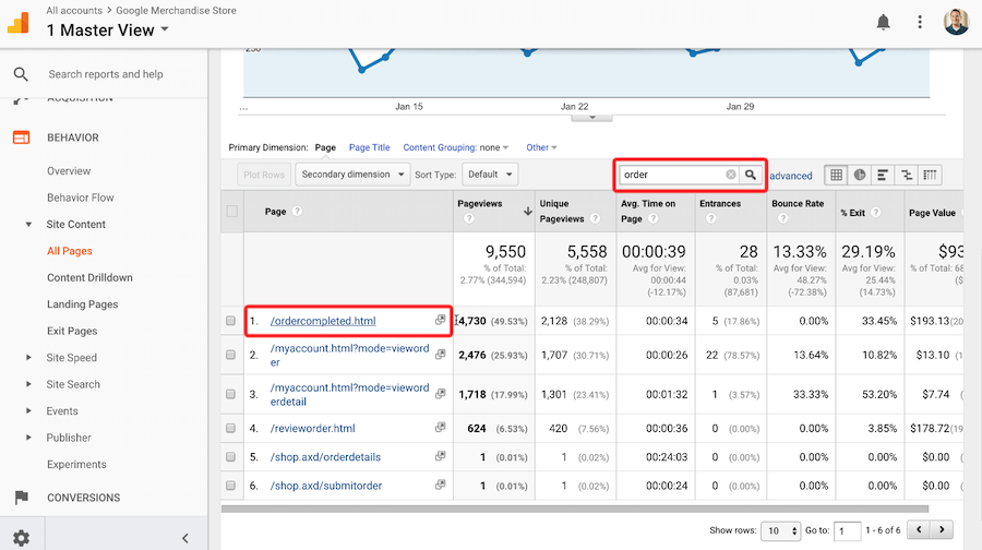 Google Analytics conversion