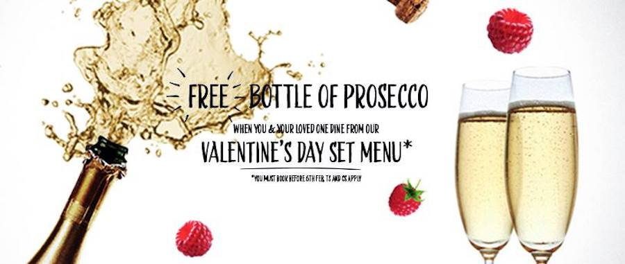 Free bottle of prosecco with food