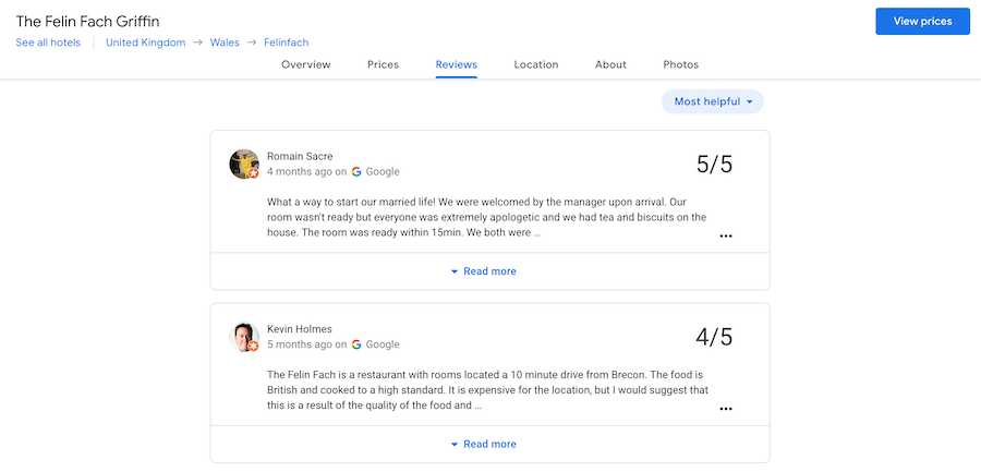 Google Reviews for Pubs