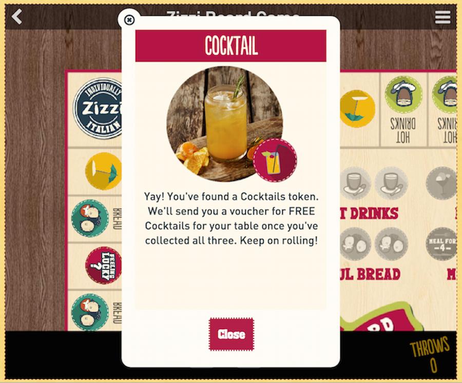 Zizzi restaurant gamification