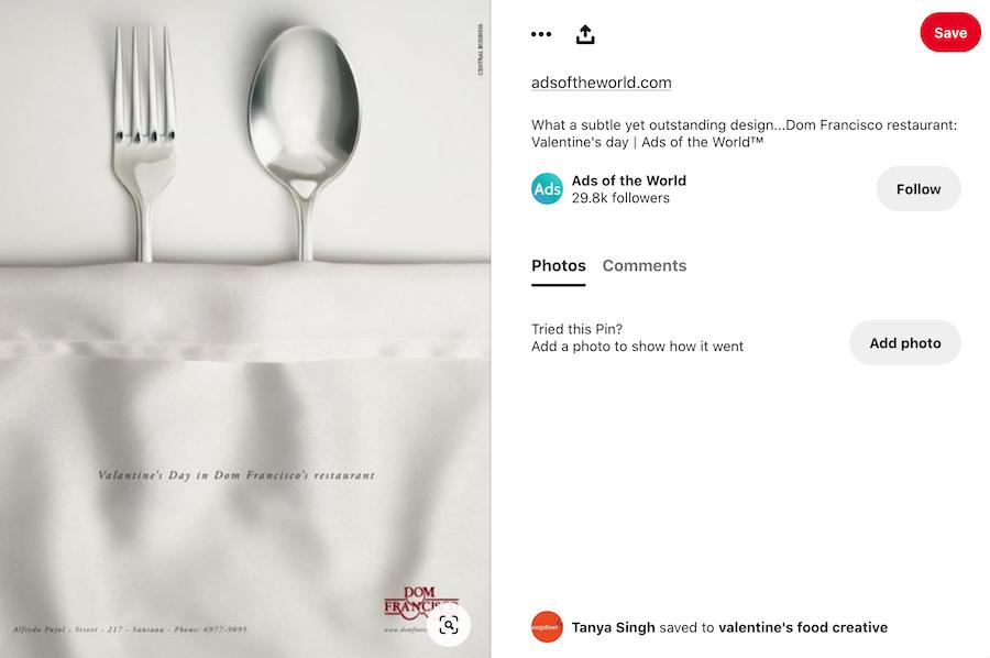 Valentine's Day Restaurant Ad example