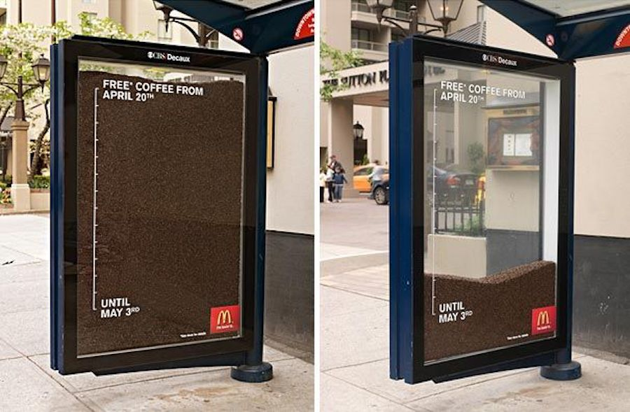 Coffee ad at bus stop