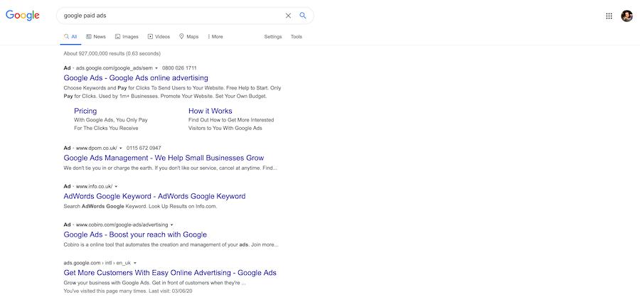 Google paid ads