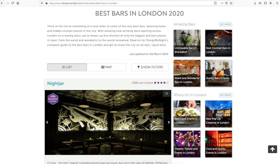 Online marketing for bars design my night
