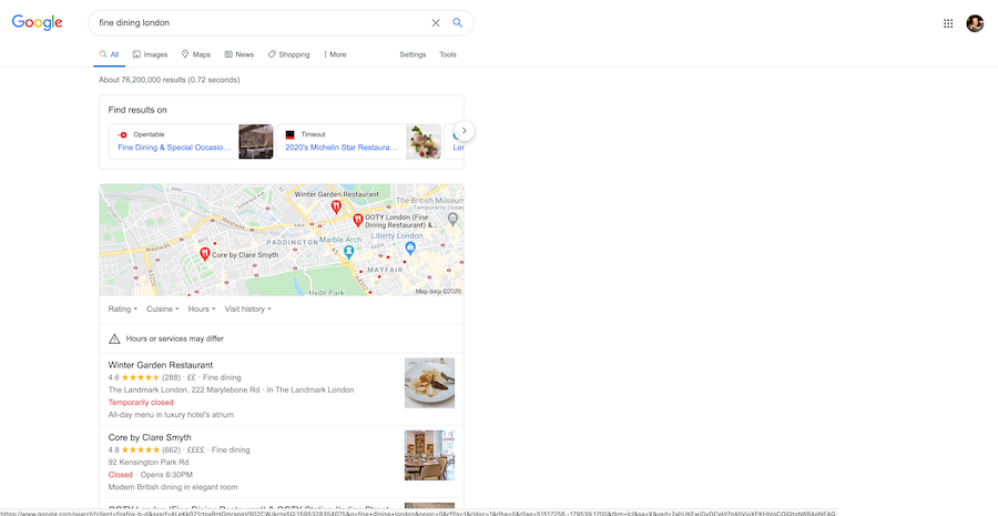Google local pack and Google adwords for fine dining restaurants