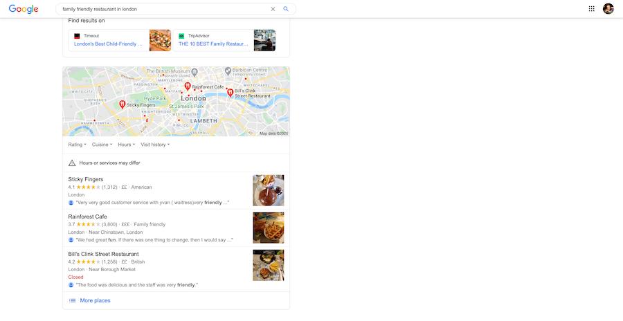 Casual restaurant marketing plan for Google