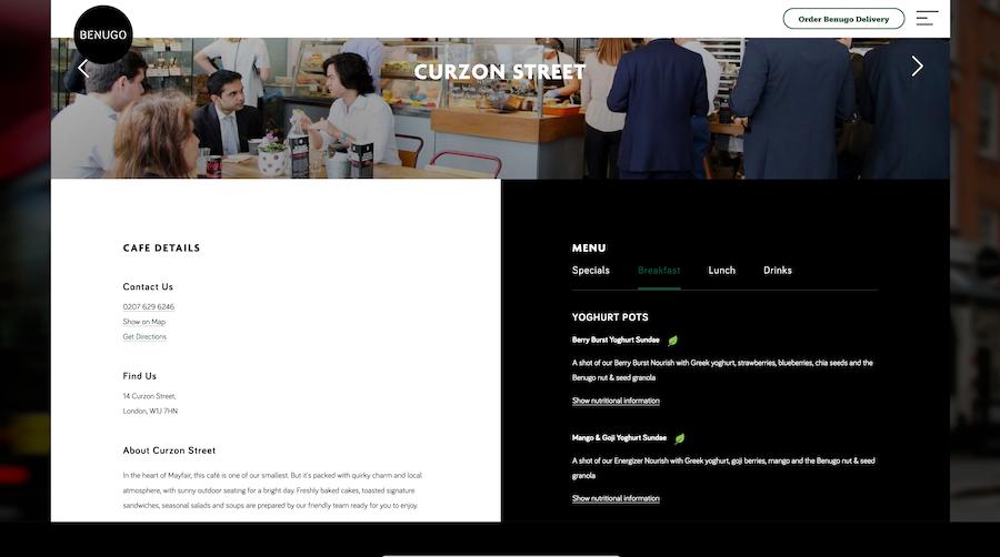 Cafe restaurant marketing website