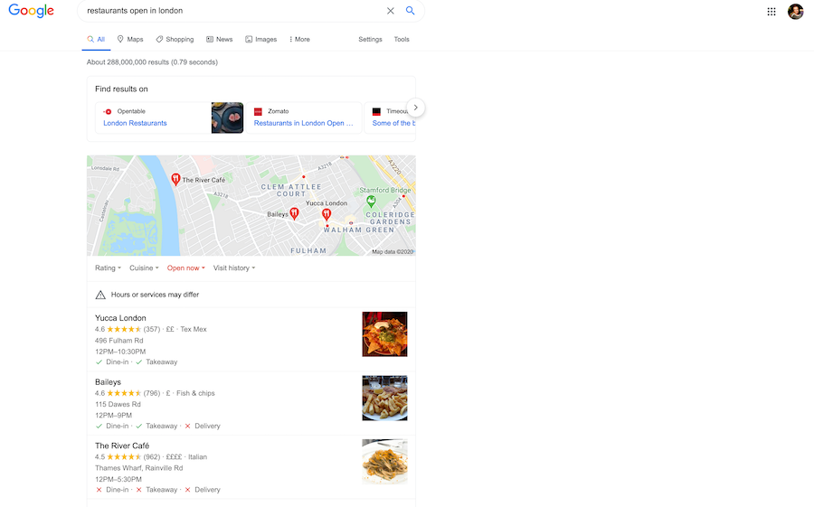 Google's local pack for COVID-era venue marketing plan