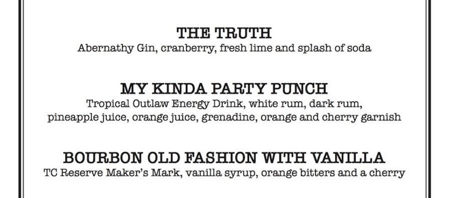 Perfect drinks menu