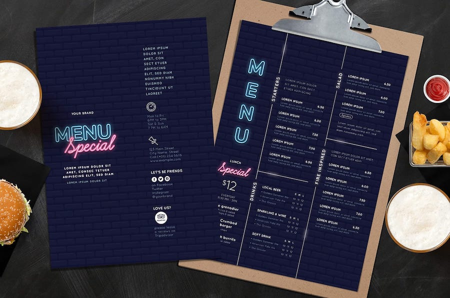 Nightclub website menu