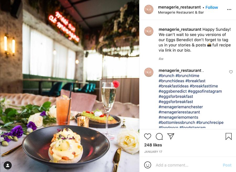 Social media marketing for restaurants example
